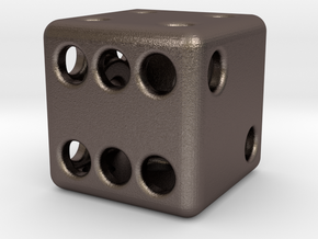 Balanced Hollow Dice (D6) (1.5cm) (Method 1) in Polished Bronzed Silver Steel