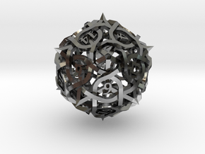 Thorn d20 in Polished Silver