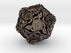 20-sided die with leaves in Polished Bronzed Silver Steel