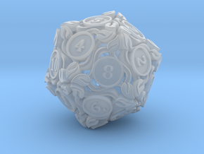 20-sided die with leaves in Frosted Ultra Detail