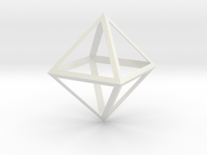 Octahedron Thicker - 6 cm in White Natural Versatile Plastic