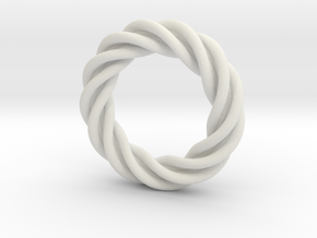 Artistic Ring Twisted 01 in White Strong & Flexible