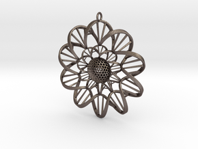 DNA FLOWER PENDANT in Polished Bronzed Silver Steel