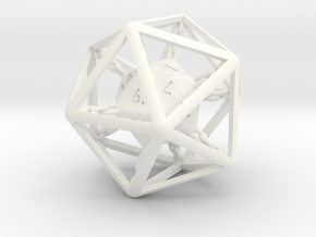 Chained die 20-sided in White Processed Versatile Plastic