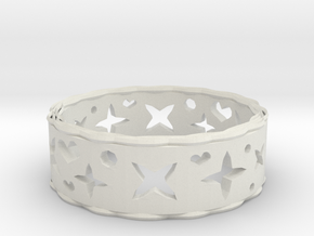 Ring Heart Star in White Natural Versatile Plastic