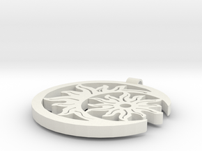 Sun and Moon pendant in White Natural Versatile Plastic