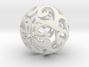 Curlicue ball 1 in White Natural Versatile Plastic