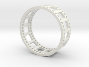 Movie Reel Ring double-size prototype in White Natural Versatile Plastic