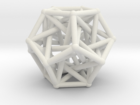 Dodecahedron & 5 tetrahedrons in White Natural Versatile Plastic