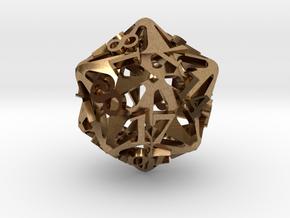 Pinwheel d20 in Natural Brass