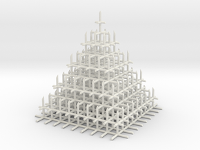 Mesh Pyramid in White Natural Versatile Plastic