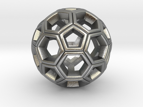 Soccer Ball Pendant in Natural Silver