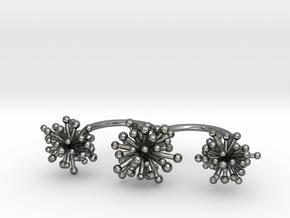 Triple Starburst Ring in Premium Silver