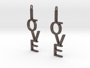 Love Earrings Large  in Polished Bronzed Silver Steel