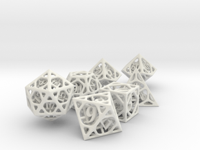 Cage Dice Set with Decader in White Natural Versatile Plastic