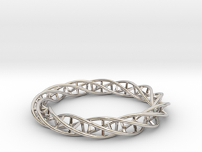 Double DNA Bracelet (63 mm) in Rhodium Plated Brass