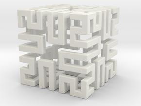 Springy Cube in White Natural Versatile Plastic