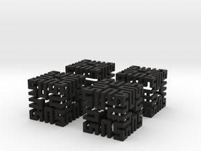 4 Springy Cubes in Black Strong & Flexible