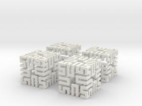 4 Springy Cubes in White Natural Versatile Plastic