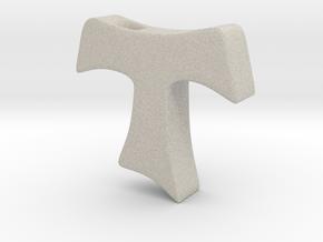 Tau cross pendant SMALL in Natural Sandstone