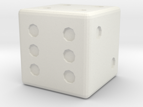 Basic D6 Die .5 inches in White Strong & Flexible
