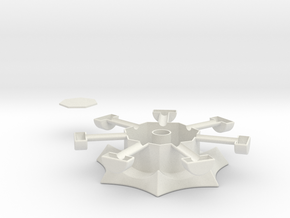 Heptagonal domino center misc. (print 2) in White Natural Versatile Plastic