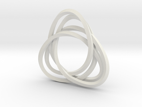 Tri mobius twin 2mm rail pendant in White Strong & Flexible