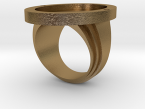 dune signet ring in Polished Gold Steel