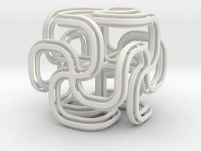 Crusty spiral cross cube in White Natural Versatile Plastic