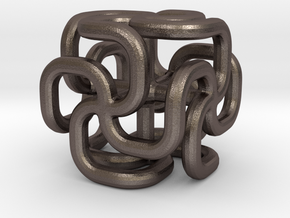 Steel spiral cross cube in Polished Bronzed Silver Steel