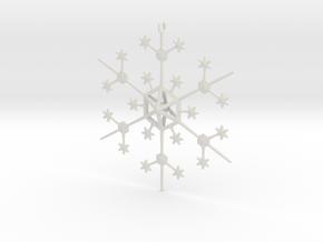 Snowflake Tree Ornament in White Natural Versatile Plastic