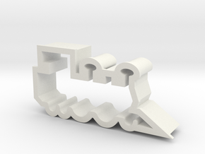 Train Engine Cookie Cutter Side View in White Natural Versatile Plastic