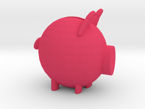 Piggy Bank Model in Pink Processed Versatile Plastic