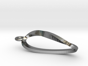 Moebius Strip Necklace Pendant in Polished Silver
