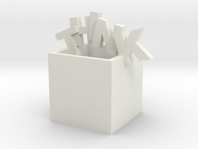 Think Outside the Box Sculpture in White Natural Versatile Plastic