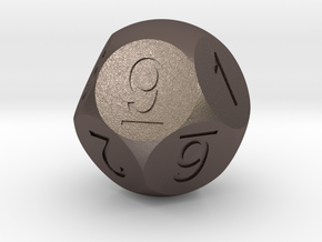 D10 5-fold Sphere Dice in Polished Bronzed Silver Steel