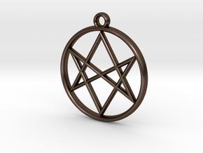 Unicursal Hexagram Pendant in Polished Bronze Steel