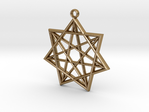 Double Heptagram Pendant in Polished Gold Steel