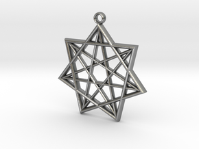 Double Heptagram Pendant in Natural Silver