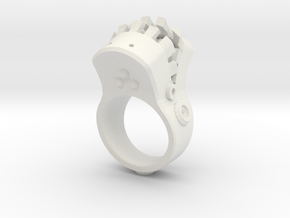 Big mouth Ring in White Natural Versatile Plastic