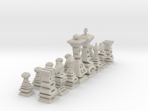 Typographical Chess Set in Sandstone