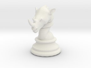 Chess piece – Rhino as Rook in White Natural Versatile Plastic