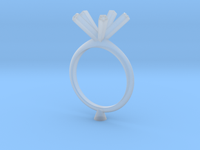 JMW4- Pentagon Engagement Ring 3D  Printed Wax . in Frosted Ultra Detail