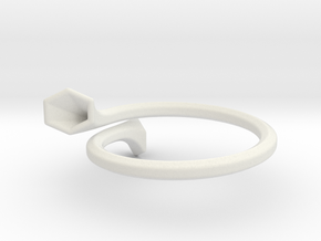 Double Trumpet Ring in White Natural Versatile Plastic