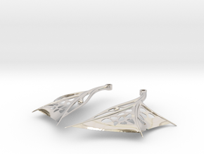 Wing Earrings - Fishhooks in Platinum