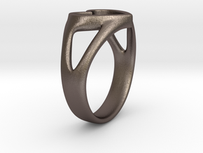 Silvia Heart ring in Polished Bronzed Silver Steel