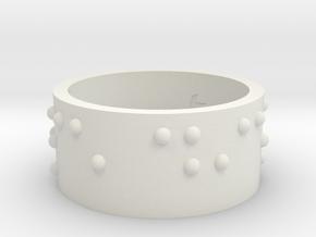 Braille Ring Carpe Diem in White Strong & Flexible