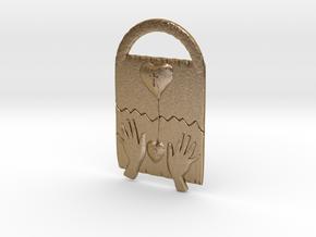 God''s Heart N Mine Key Chain in Polished Gold Steel