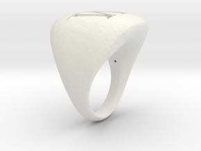 M_Initial RIng in White Natural Versatile Plastic