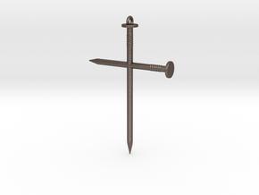 Cross #01 in Polished Bronzed Silver Steel